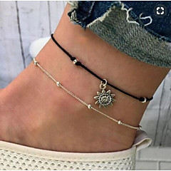 baratos Bijoux de Corps-Camadas tornozeleira - Sol Vintage Prata Para Diário / Mulheres