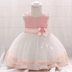 billige Babytøj-Baby Pige Vintage I-byen-tøj Patchwork Uden ærmer Knælang Bomuld Kjole