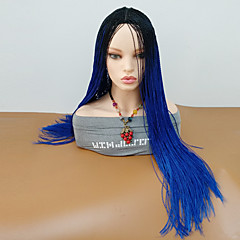 cheap Wigs & Hair Pieces-Synthetic Wig Women's Curly Blue Braid Synthetic Hair Ombre Hair / Middle Part / Braided Wig Blue Wig Long Capless Black / Sapphire Blue