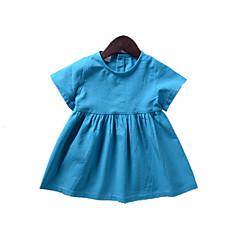 billige Babykjoler-Baby Pige Aktiv / Basale Daglig / Sport Ensfarvet Kortærmet Normal Normal Over knæet Bomuld Kjole Lyseblå 100