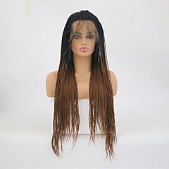 billiga Peruker och hårförlängning-twist Flätor / Syntetiska snörning framifrån Matt Fläta Syntetiskt hår Värmetåligt Mörkbrun Peruk Dam Lång Spetsfront