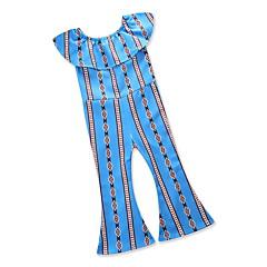 billige Bukser og leggings til piger-Baby Pige Vintage / Gade Ferie / I-byen-tøj Geometrisk Flettet / Kvast / Trykt mønster Kortærmet Spandex Overall og jumpsuit Blå 100