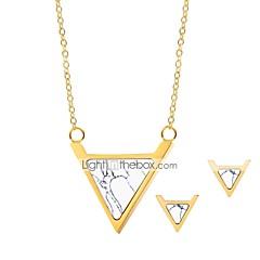 baratos Conjuntos de Bijuteria-Mulheres Turquesa Conjunto de jóias - Simples, Natureza Incluir Brincos Curtos / Colar Dourado Para Escola / namorados