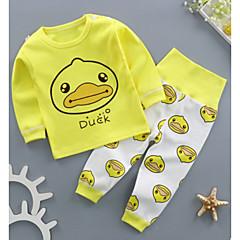 billige Sett med babyklær-Baby Pige Trykt mønster Kortærmet / Langærmet Tøjsæt