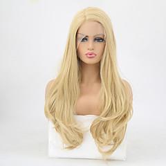 billiga Peruker och hårförlängning-Syntetiska snörning framifrån Vågigt Frisyr i lager Syntetiskt hår Värmetåligt Guld Peruk Dam Lång Spetsfront