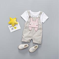 billige Sett med babyklær-Baby Unisex Stribet Kortærmet Tøjsæt