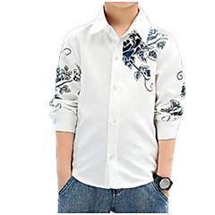 billige Overdele til drenge-Børn Drenge Basale / Gade Blomstret Trykt mønster Langærmet Bomuld Skjorte