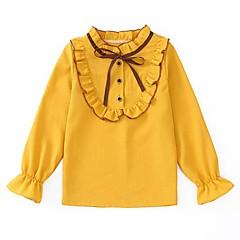 billige Pigetoppe-Børn Pige Aktiv / Gade Daglig / I-byen-tøj Patchwork Drapering Langærmet Normal Rayon Skjorte Hvid