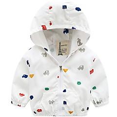 billige Jakker og frakker til drenge-Baby Drenge Basale Daglig Trykt mønster Langærmet Normal Polyester Jakkesæt og blazer Hvid 100