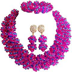 baratos Conjuntos de Bijuteria-Mulheres Camadas Conjunto de jóias - MOON Fashion Incluir Strands Necklace Verde / Azul / Rosa Para Casamento