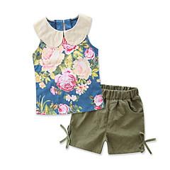 billige Tøjsæt til piger-Baby Pige Ensfarvet / Blomstret / Trykt mønster Uden ærmer Tøjsæt