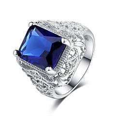 Χαμηλού Κόστους Δαχτυλίδια-Γυναικεία Cubic Zirconia Επίπεδα Band Ring - S925 Sterling Silver Λουλούδι Κλασσικό, Βίντατζ, Κομψό 6 / 7 / 8 Μπλε Για Γάμου / Αρραβώνας / Γαμήλια Τελετή
