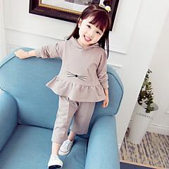 billige Sett med babyklær-Baby Pige Basale Daglig Ensfarvet Langærmet Normal Polyester Tøjsæt Lilla 100