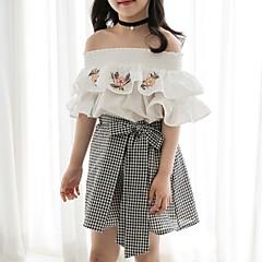 billige Pigetoppe-Børn Pige Boheme Geometrisk Kortærmet Bomuld Bluse