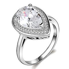 billige Motering-Dame Klassisk Elegant Ring Forlovelsesring - Platin Belagt, Fuskediamant Pære Statement, Unikt design, Romantikk 5 / 6 / 7 / 8 / 9 Sølv Til Bryllup Engasjement