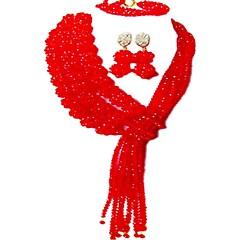 baratos Conjuntos de Bijuteria-Mulheres Camadas Conjunto de jóias - MOON Fashion Incluir Strands Necklace Rosa claro / Rosa / Champanhe Para Casamento / Festa