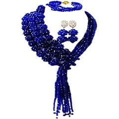 baratos Conjuntos de Bijuteria-Mulheres Camadas Conjunto de jóias - Cristal Austríaco MOON Fashion Incluir Strands Necklace Rosa claro / Rosa / Champanhe Para Casamento Festa / Brincos