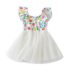 billige Babykjoler-Baby Pige Basale / Gade Daglig / Ferie Blomstret Kortærmet Kort Bomuld Kjole Hvid
