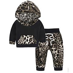billige Sett med babyklær-Baby Pige Basale Leopard / Farveblok Langærmet Bomuld Tøjsæt