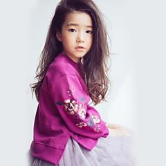 billige Hættetrøjer og sweatshirts til piger-Børn Pige Basale Ensfarvet Langærmet Polyester Hættetrøje og sweatshirt Grøn