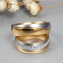 billige Motering-Par Kubisk Zirkonium Parringer - Mote, Elegant 6 / 7 / 8 Gull Til Bryllup / Engasjement / Seremoni