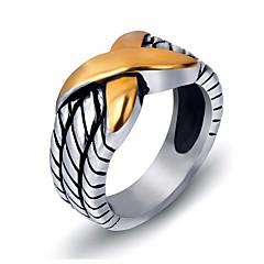 billige Motering-Dame Retro crossover Ring - Titanium Stål Vintage, trendy 7 / 8 / 9 / 10 / 11 Sølv Til Gave Daglig