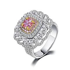 billige Motering-Dame Kubisk Zirkonium Stable Ring - Platin Belagt Blomst Luksus, Europeisk, Romantikk 5 / 6 / 7 Gul / Rosa / Gull-Vin Til Gave / Formell
