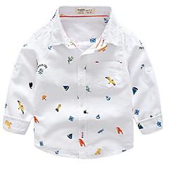 billige Overdele til drenge-Baby Drenge Basale Trykt mønster Langærmet Kort Skjorte