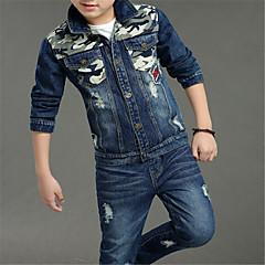 رخيصةأون ملابس الأولاد-مجموعة ملابس كم طويل لون سادة أساسي للصبيان أطفال