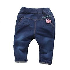 billige Babyunderdele-Baby Pige Aktiv Patchwork Patchwork Bomuld / Polyester Jeans Blå