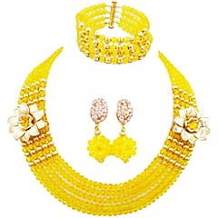 baratos Conjuntos de Bijuteria-Mulheres Camadas Conjunto de jóias - MOON Fashion Incluir Strands Necklace Verde / Azul / Champanhe Para Festa