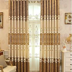 baratos Tratamentos para Janelas-Cortina Lápis Plissado Painel 2*(W140cm×L259cm) Marron / Jacquard / Sala de Estar / Cortinas cortinas