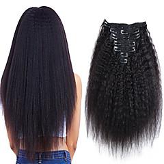 Χαμηλού Κόστους Εξτένσιονς μαλλιών με κλιπ-Κλιπ Μέσα / Πάνω Επεκτάσεις ανθρώπινα μαλλιών Κατσαρά Ίσια Φυσικό Μαύρο Εξτένσιον από Ανθρώπινη Τρίχα Φυσικά μαλλιά Βραζιλιάνικη 7 τεμ Νέα άφιξη / Για μαύρες γυναίκες Γυναικεία
