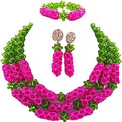 baratos Conjuntos de Bijuteria-Mulheres Camadas Conjunto de jóias - Cristal Austríaco Bola Fashion Incluir Brincos Compridos Pulseira colares em camadas Verde / Rosa / Champanhe Para Festa