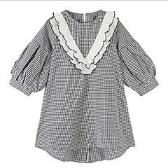 baratos Roupas de Meninas-Infantil Para Meninas Preto & Branco Quadriculada Manga Longa Vestido