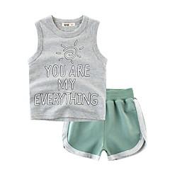 billige Tøjsæt til drenge-Baby Drenge Basale Daglig / Strand Trykt mønster Uden ærmer Normal Polyester Tøjsæt Grå 110