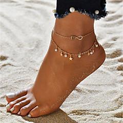 baratos Bijoux de Corps-Fio Único tornozeleira - Imitação de Pérola Estrela, Infinidade Na moda, Romântico, Doce Dourado Para Presente / Para Noite / Mulheres