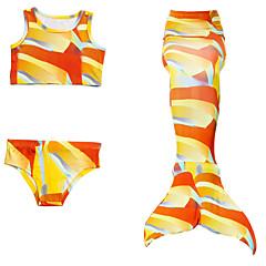 billige Badetøj til piger-Børn Pige Aktiv Sport Farveblok Uden ærmer Bomuld / Polyester Badetøj Orange