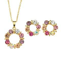 baratos Conjuntos de Bijuteria-Mulheres Lustres Conjunto de jóias - Simples, Fashion Incluir Brincos Curtos Colares com Pendentes Dourado Para Cerimônia Encontro