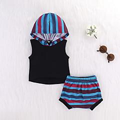 billige Sett med babyklær-Baby Pige Basale Stribet Trykt mønster Uden ærmer Kort Bomuld Tøjsæt
