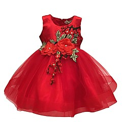 billige Babykjoler-Baby Pige Vintage I-byen-tøj / Fødselsdag Blomstret Uden ærmer Normal Knælang Bomuld / Polyester Kjole Sort 100