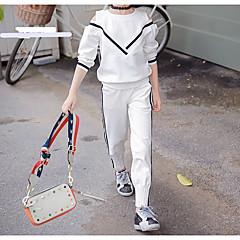 billige Tøjsæt til piger-Børn Pige Sort og hvid Ensfarvet Langærmet Tøjsæt