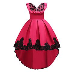 baratos Roupas de Meninas-Infantil Para Meninas Básico / Doce Festa / Para Noite Floral Sem Manga Altura dos Joelhos / Assimétrico Vestido / Algodão