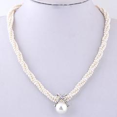 ieftine Coliere din Fir-Pentru femei Χάντρες Coliere Colier - Imitație de Perle European, Modă, Elegant Alb 40 cm Coliere 1 buc Pentru Zilnic