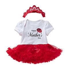 billige Babytøj-Baby Pige Trykt mønster Kort Ærme En del