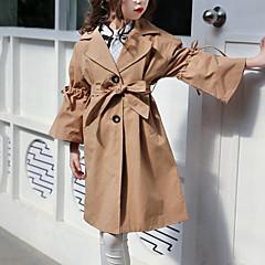 baratos Roupas de Meninas-Infantil Para Meninas Activo / Moda de Rua Sólido Cordões Manga Longa Longo Casaco Trench