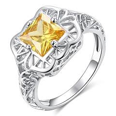 billige Motering-Dame Klassisk Hul Ring - Kobber, Platin Belagt, Fuskediamant Kreativ Klassisk, Elegant, Britisk 6 / 7 / 8 / 9 / 10 Gul Til Bryllup Fest