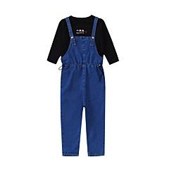 billige Tøjsæt til piger-Børn Pige Aktiv Skole / Strand Ensfarvet Blondér Langærmet Bomuld Tøjsæt