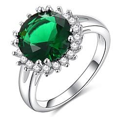 billige Motering-Dame Klassisk / Retro Ring - Platin Belagt, Fuskediamant Dyrebar Klassisk, Elegant, Britisk 6 / 7 / 8 Grønn Til Bryllup / Fest