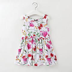 baratos Roupas de Meninas-Infantil / Bébé Para Meninas Floral / Jacquard Sem Manga Vestido